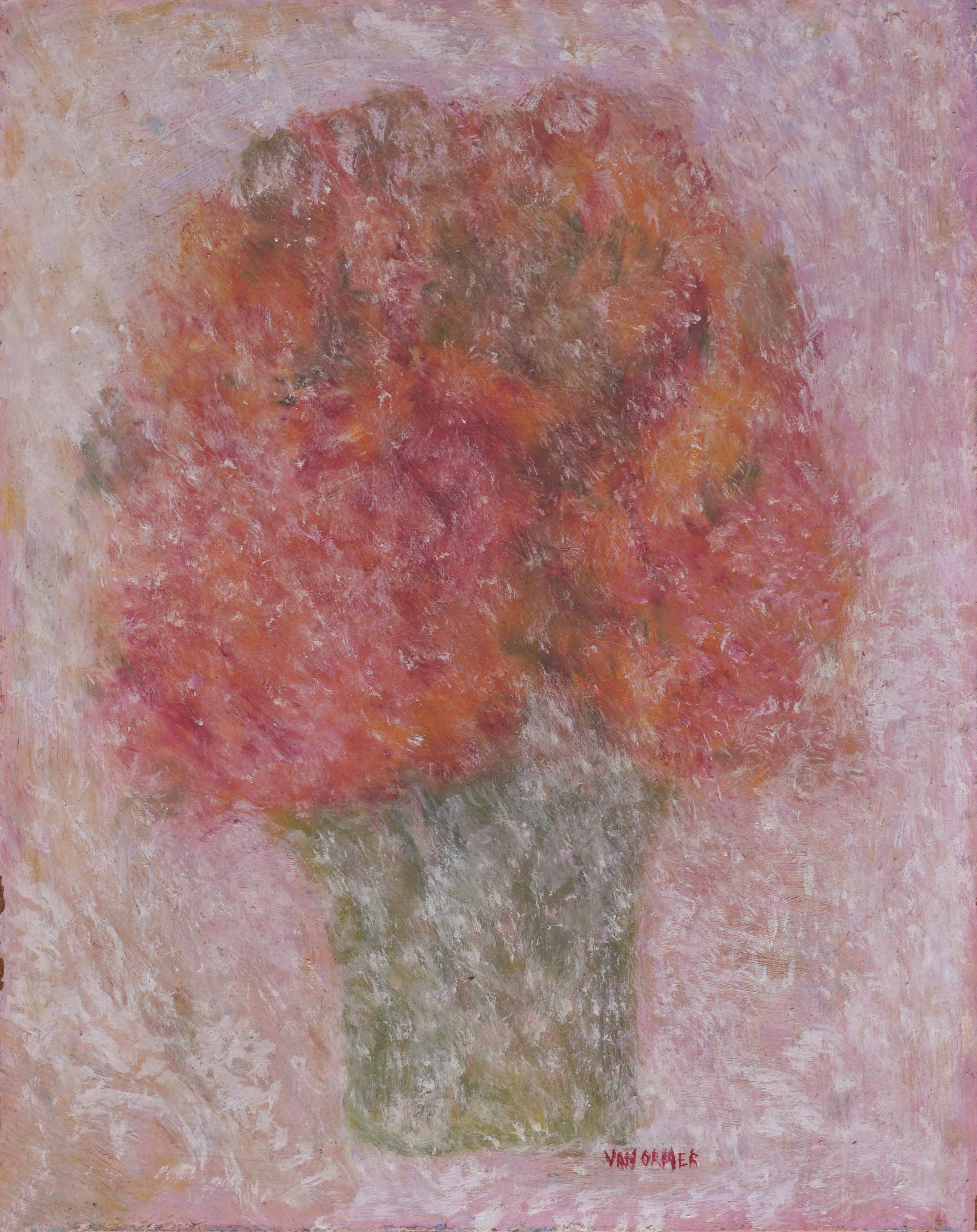 Mid Century Vase of Flowers Impressionist Still Life