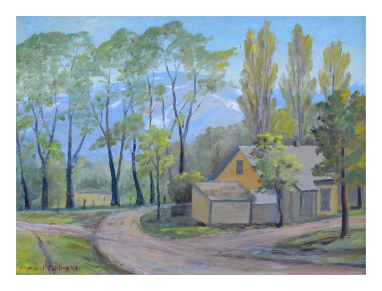 Mid Century Mill Valley, California Landscape - Painting by Margaret Carlson