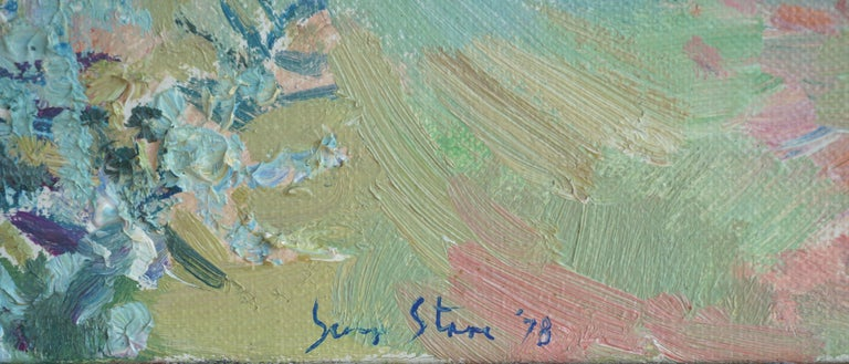 View From the Studio Landscape - American Impressionist Painting by S. Starr