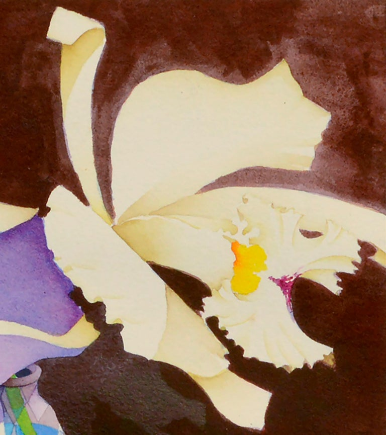 Irises in Crystal Vase - Floral Watercolor Still Life  - Brown Interior Art by John Paul Thomas