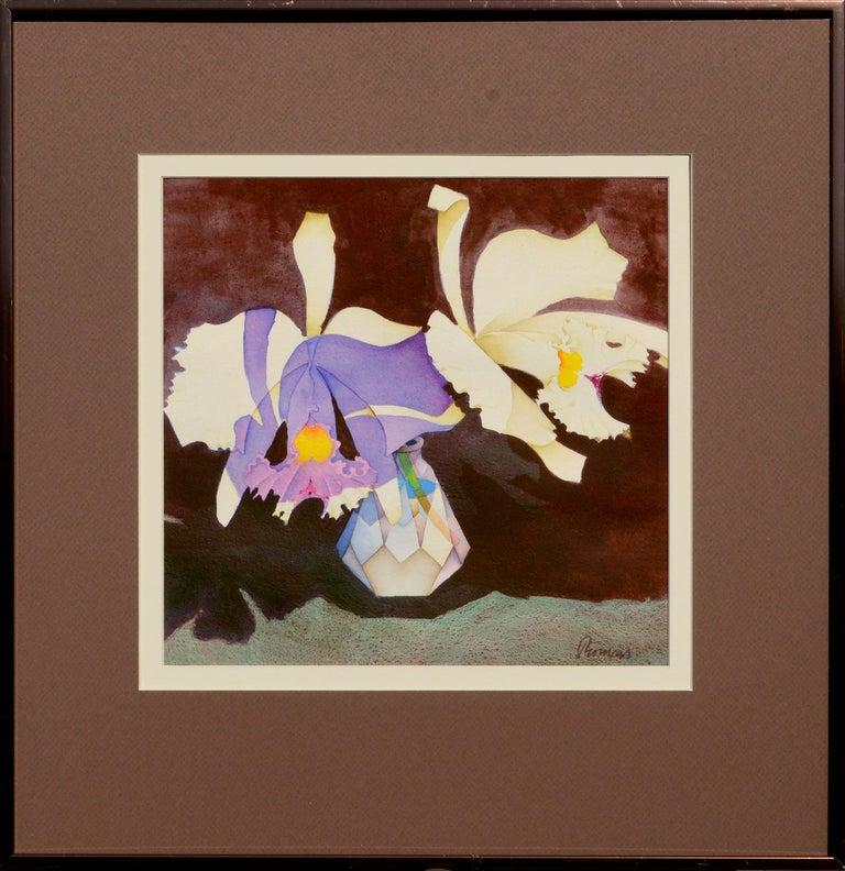 Irises in Crystal Vase - Floral Watercolor Still Life  - Art by John Paul Thomas