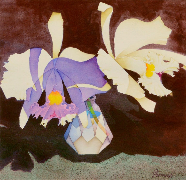 John Paul Thomas  Interior Art - Irises in Crystal Vase - Floral Watercolor Still Life