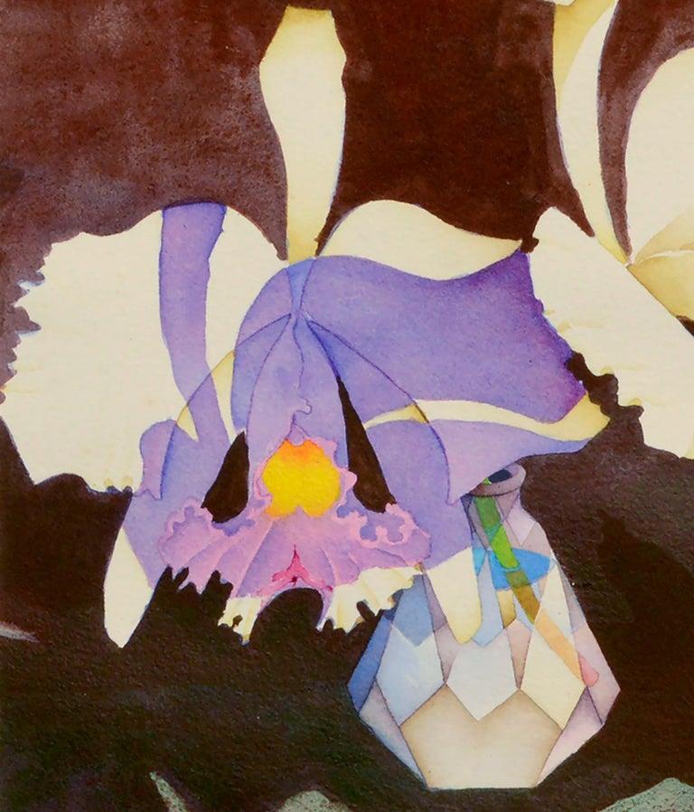 Irises in Crystal Vase - Floral Watercolor Still Life  - American Impressionist Art by John Paul Thomas