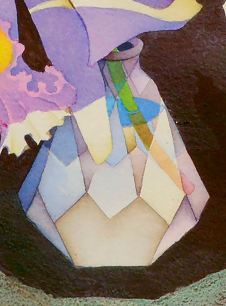 Unique floral watercolor of irises in a multi-faceted crystal vase by John Paul Thomas (American, 1927-2001). Signed