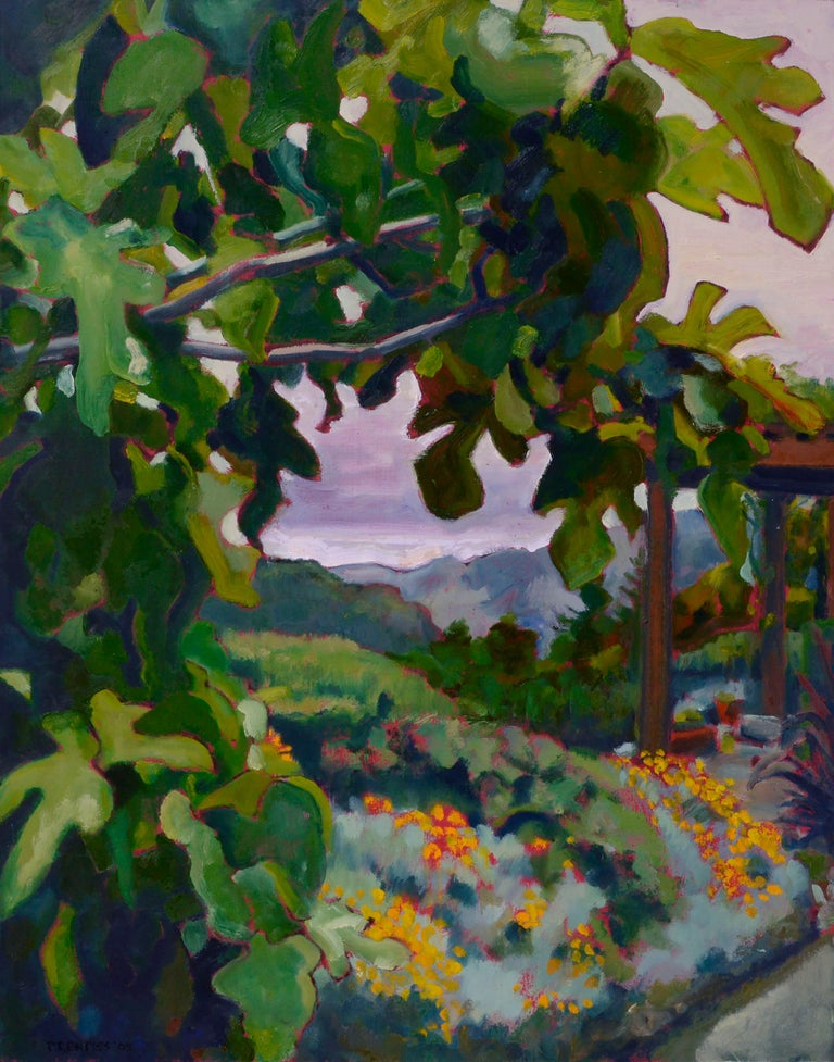 California Fig Tree & Flowers Landscape  - Painting by Charles Prentiss