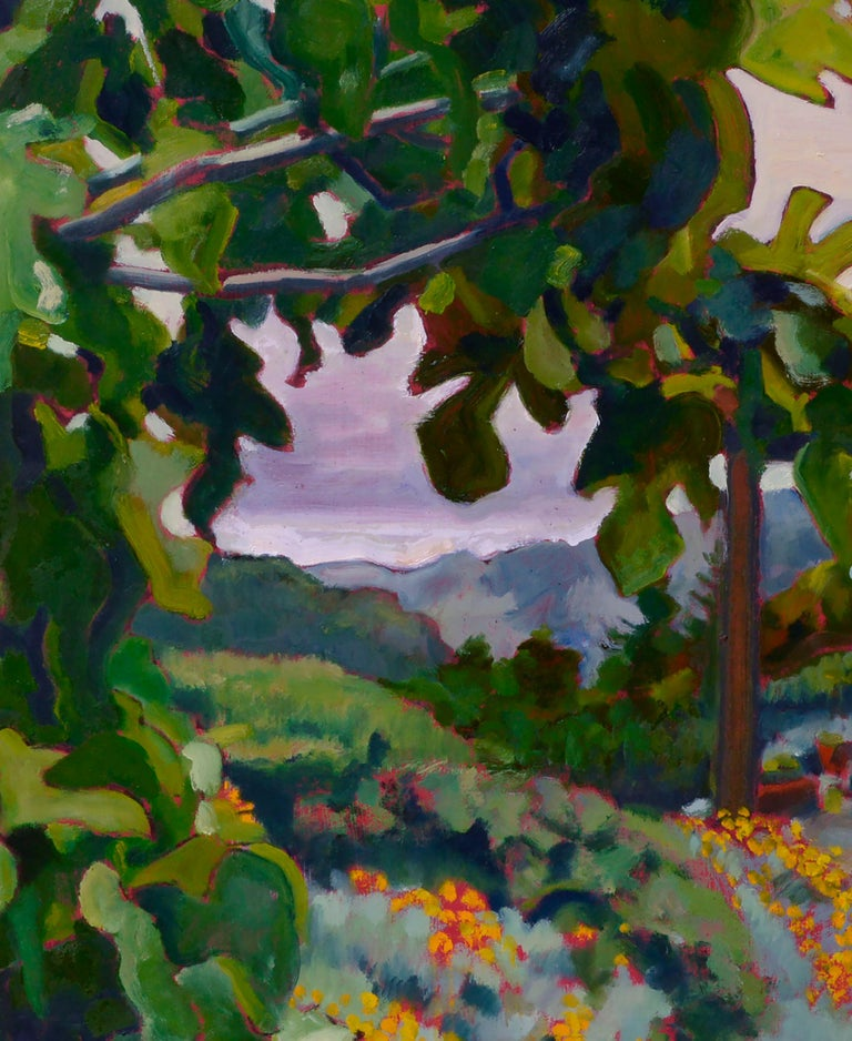 California Fig Tree & Flowers Landscape  - American Impressionist Painting by Charles Prentiss