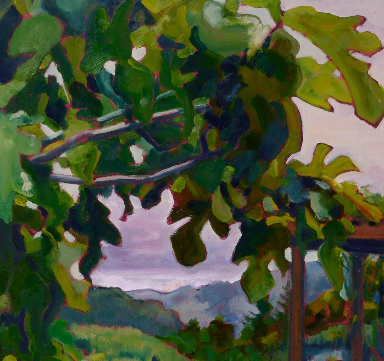 Richly colored landscape filled with lush plant life of a fig tree in the foreground, with a glimpse of a pergola and flowers dotting hills into the distance by California artist Charles Prentiss (American, 20th Century). Signed and dated