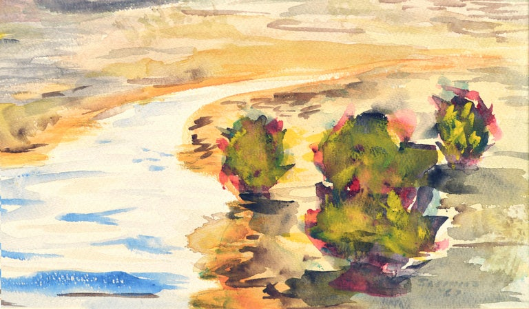 Mid Century Autumnal Watercolor Landscape - Impressionist Art by Unknown