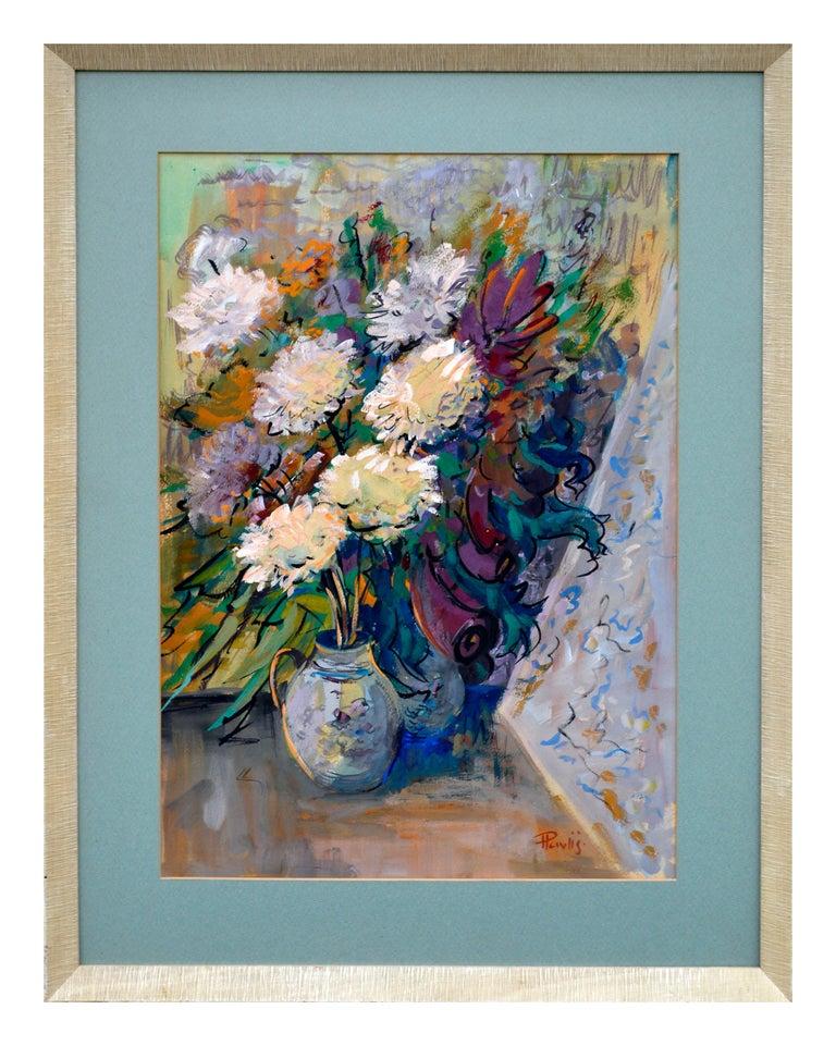 Jaroslav Pavlis Still-Life Painting - Impressionist White Chrysanthemums Still Life