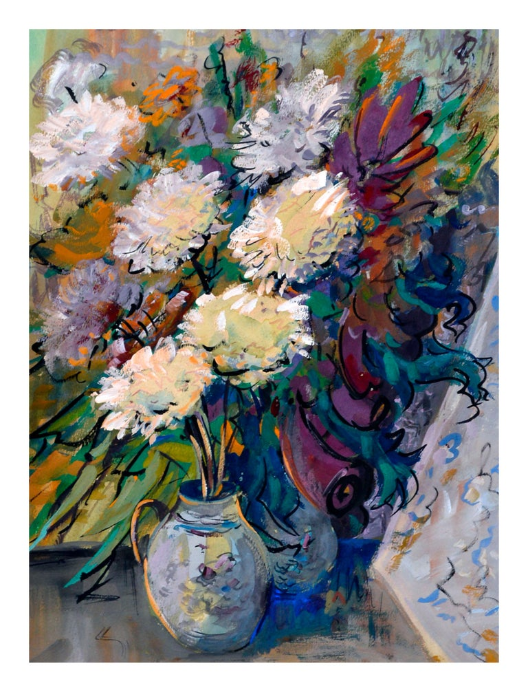 Impressionist White Chrysanthemums Still Life - Gray Still-Life Painting by Jaroslav Pavlis