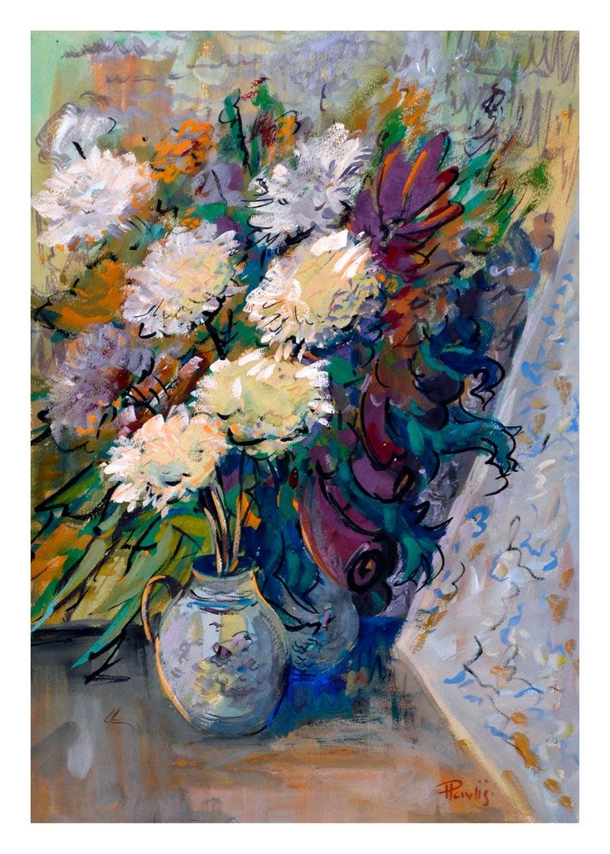 Impressionist White Chrysanthemums Still Life - Painting by Jaroslav Pavlis