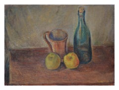Wine Bottle with Apples Still Life