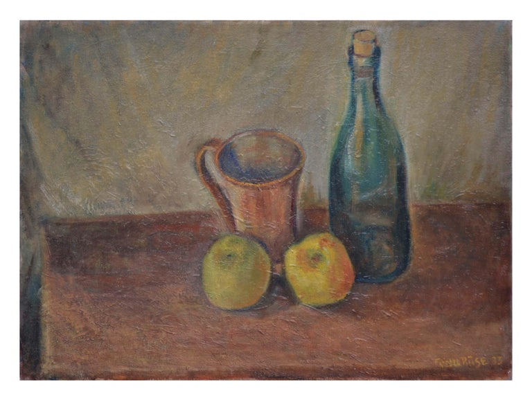 Friedel Riise Still-Life Painting - Wine Bottle with Apples Still Life
