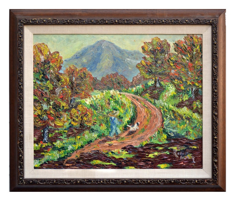 Robin Blair Figurative Painting - Mt. Tamalpais in Autumn Impasto Landscape