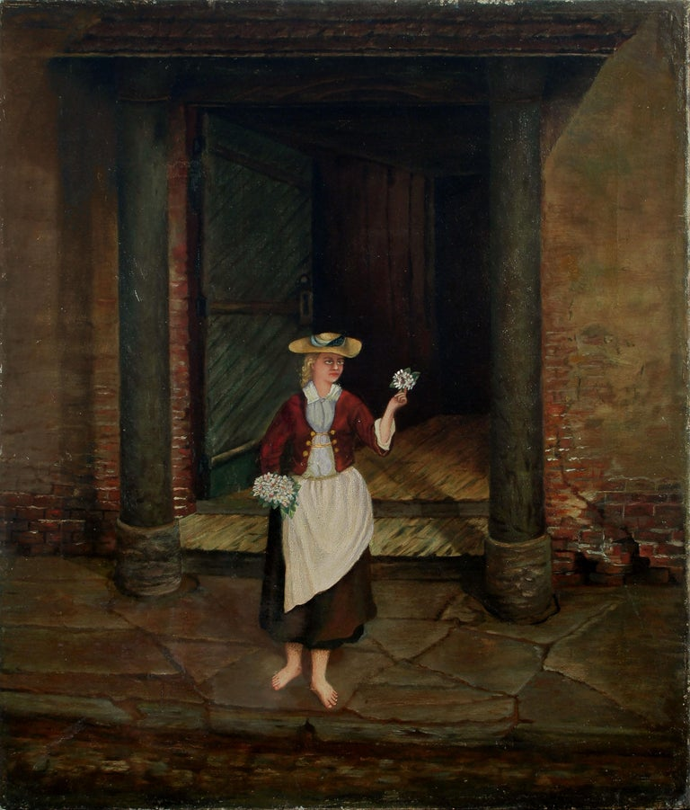 English School Figurative Painting - The Flower Seller - 19th Century Figurative