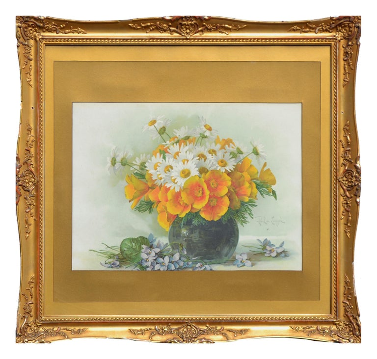 Paul de Longpre Interior Print - Late 19th Ccentury Chromolithograph of Daisies and California Poppies Still Life