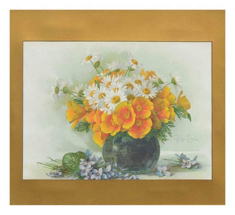 Late 19th Ccentury Chromolithograph of Daisies and California Poppies Still Life - Print by Paul de Longpre