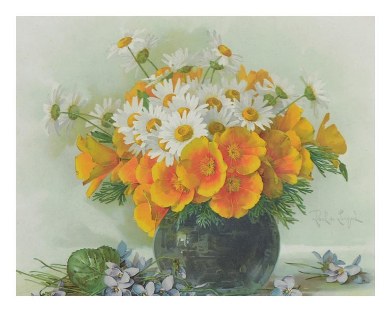 Late 19th Ccentury Chromolithograph of Daisies and California Poppies Still Life - Brown Interior Print by Paul de Longpre