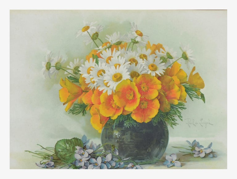Late 19th Ccentury Chromolithograph of Daisies and California Poppies Still Life - Realist Print by Paul de Longpre