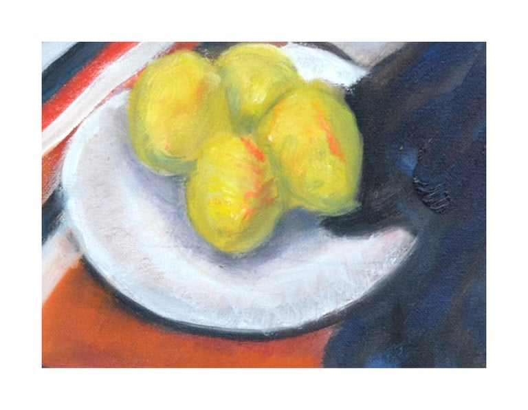 Still life of an interior with lemons and draped cloth by James Pollock (American, 20th Century). Signed and dated