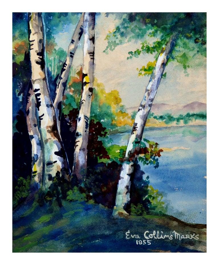 Eva Collins Marks Landscape Painting - Mid Century River Birches Landscape