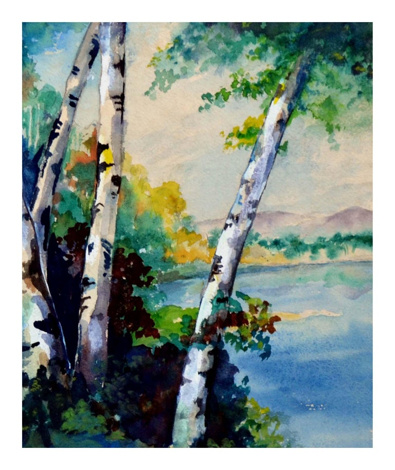 Mid Century River Birches Landscape - Painting by Eva Collins Marks