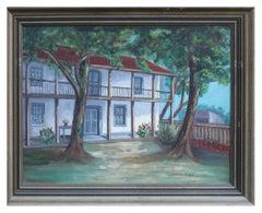 Mid Century Landscape -- In the Old Spanish Garden Santa Cruz Historical Adobe
