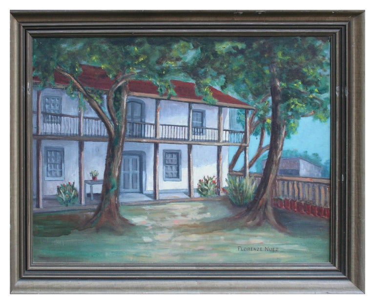 Florence Nuez Landscape Painting - Mid Century Landscape -- In the Old Spanish Garden