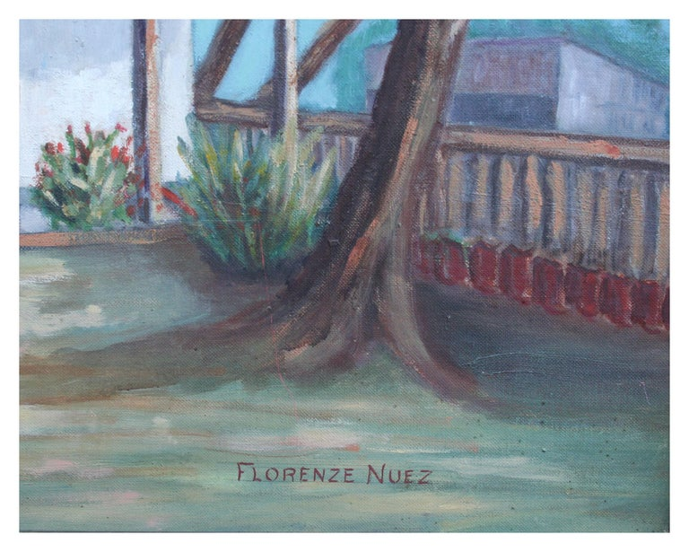 Mid Century Landscape -- In the Old Spanish Garden  - American Impressionist Painting by Florence Nuez