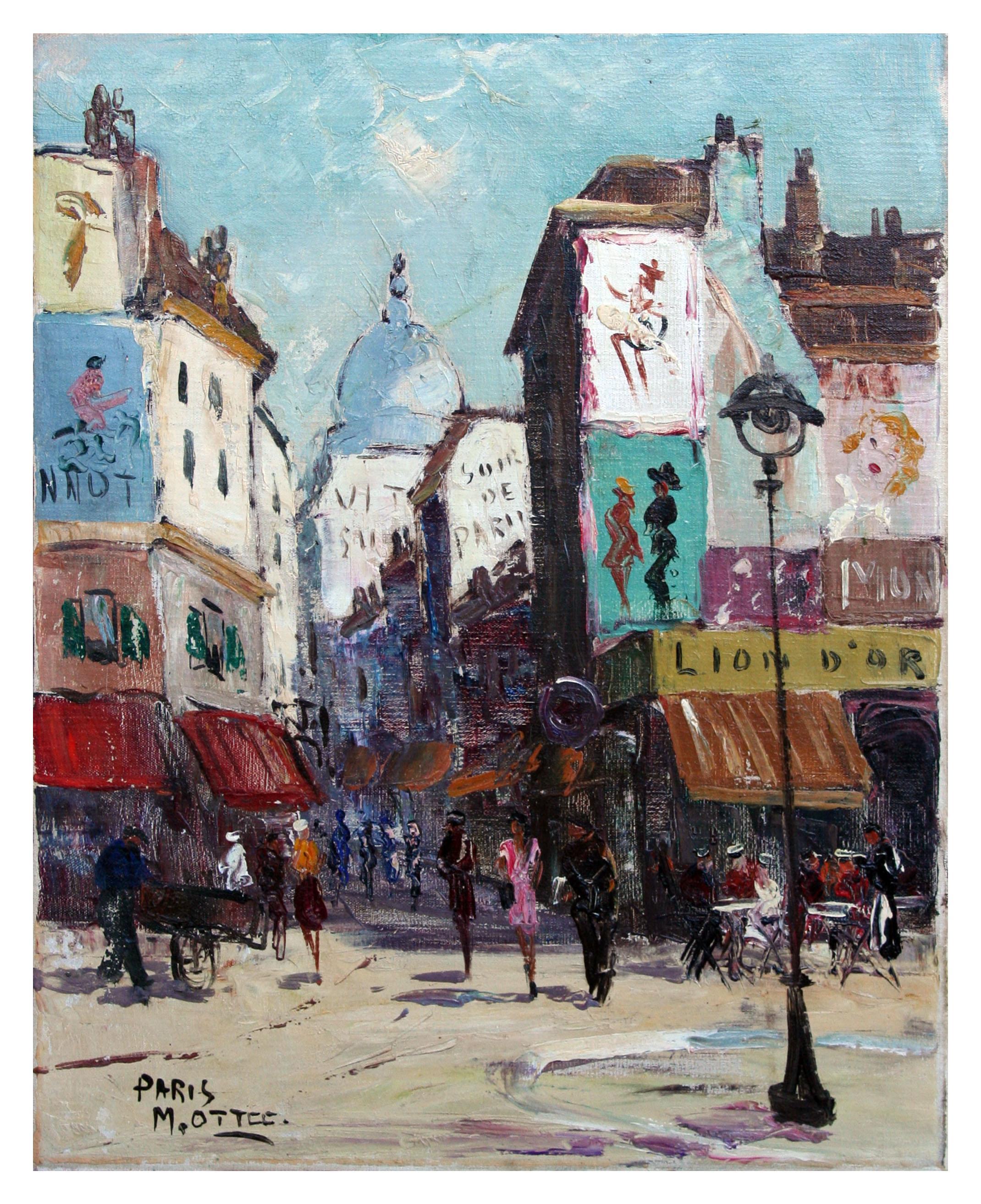 Mid Century Parisian Street Scene Landscape