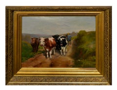 19th Century Dutch Impressionist Cows Returning home