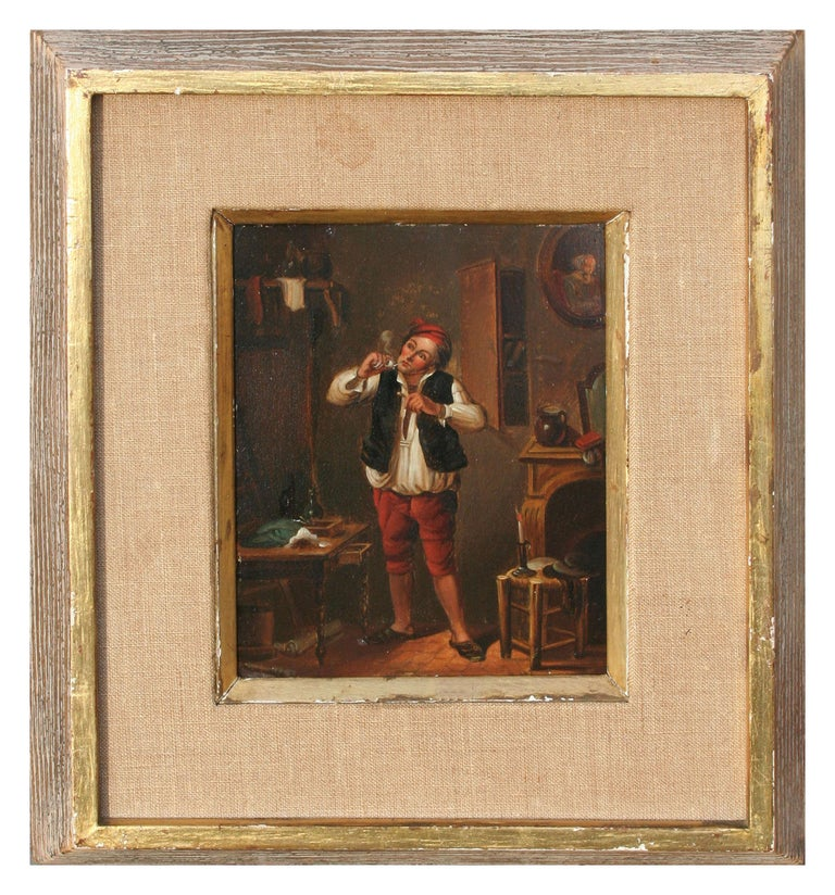 17th Century Genre Painting -- The Pipe Smoker - Black Figurative Painting by Flemish School, 17th Century