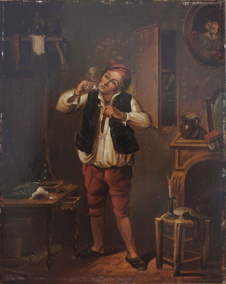 17th Century Genre Painting -- The Pipe Smoker For Sale 1