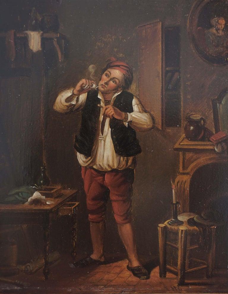 Flemish School, 17th Century Figurative Painting - 17th Century Genre Painting -- The Pipe Smoker
