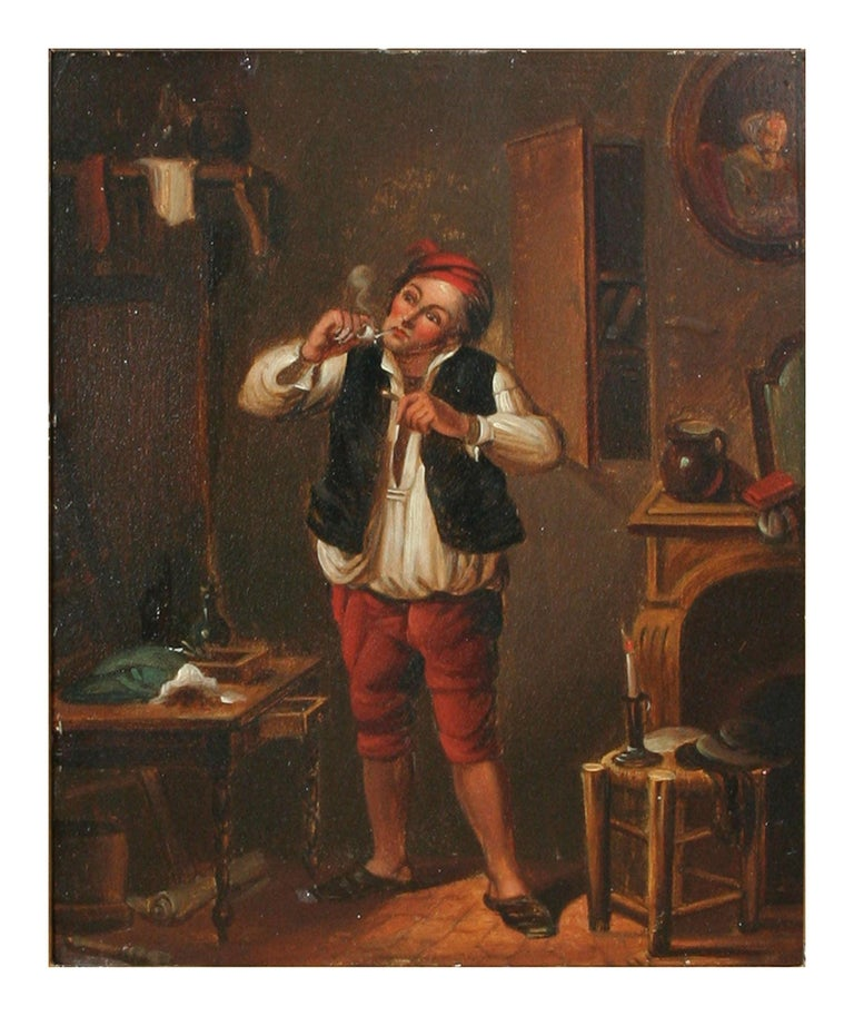 Wonderful genre painting from 18th Century of pipe smoker. Signed lower right edge with monogram