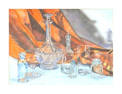 Mid Century Still Life of Crystal and Glass