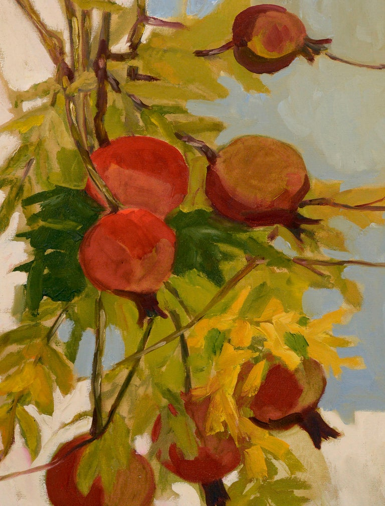 Pomegranate Tree Botanical Still Life  - American Impressionist Painting by Josephine Guerra