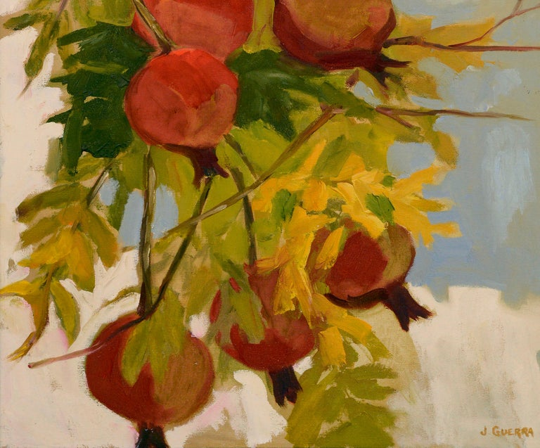 Beautiful botanical still-life of a pomegranate tree loaded with red fruit by California artist Josephine Guerra (American, 20th Century). Signed