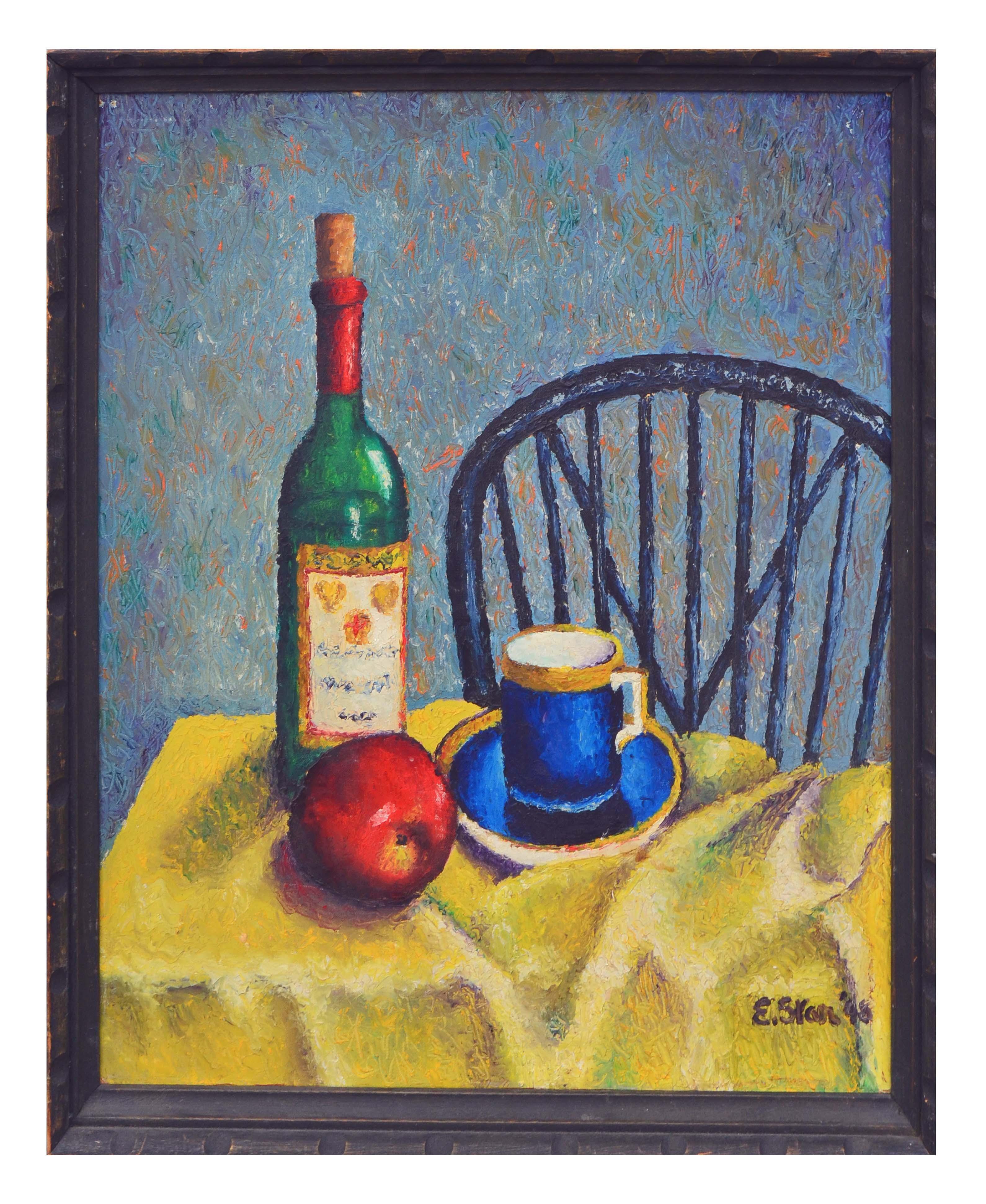 Apple & Wine Bottle Contemporary Still-Life