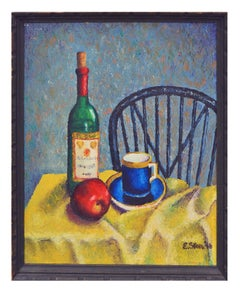 Apple & Wine Bottle Contemporary Still-Life