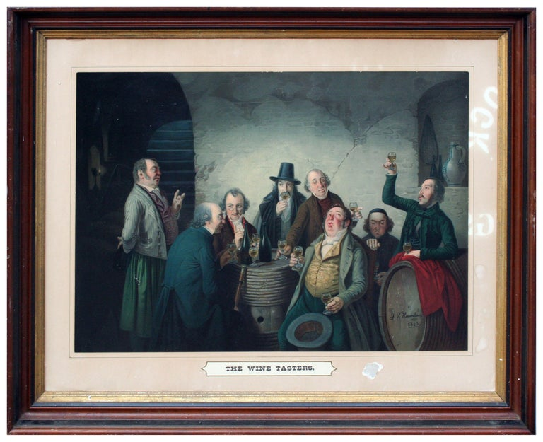 The Wine Tasters - Late 19th Century Lithograph  - Print by Johann Peter Hasenclever