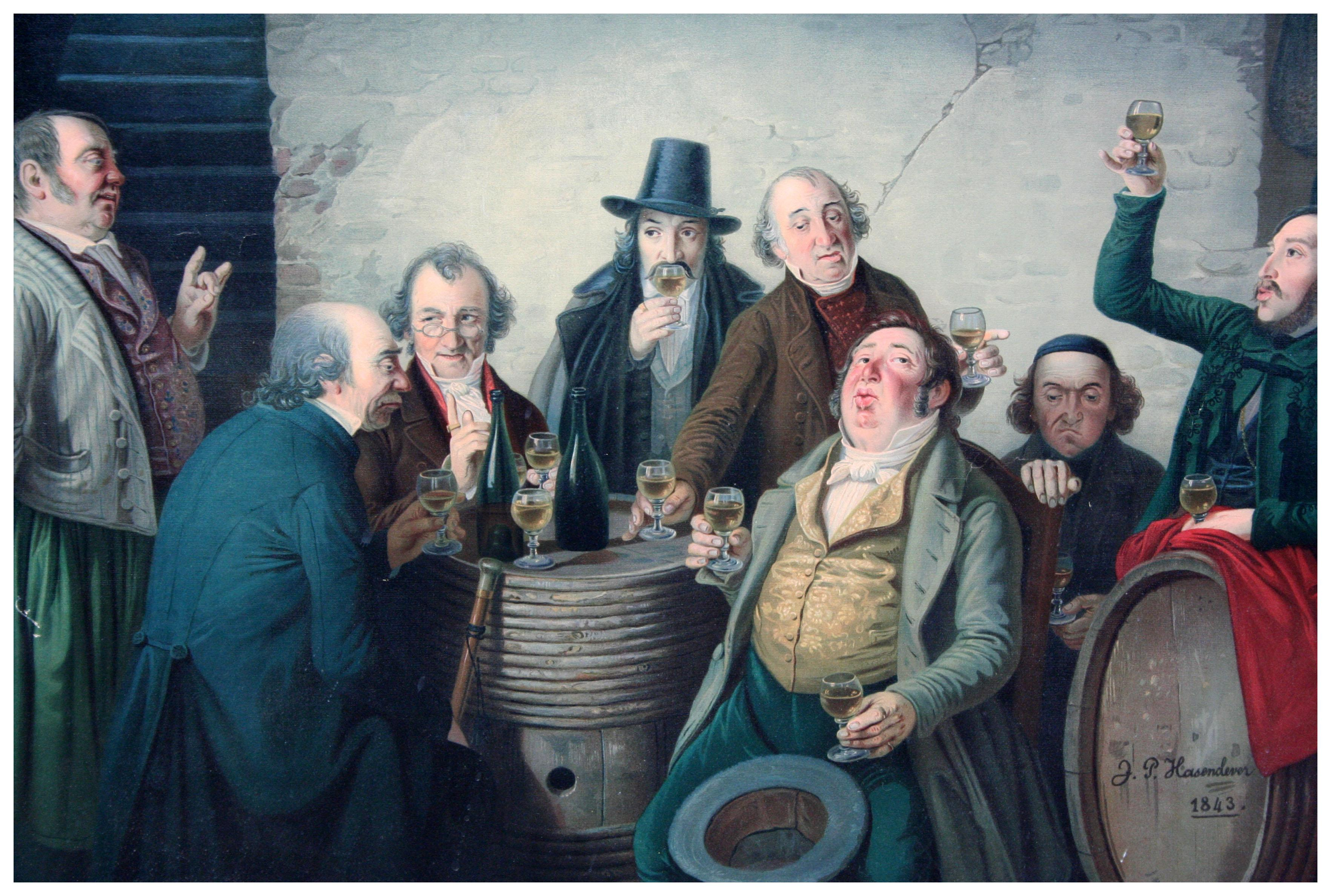 The Wine Tasters - Late 19th Century Lithograph