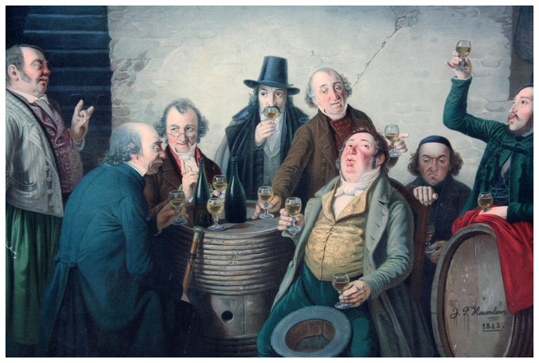 Johann Peter Hasenclever Interior Print - The Wine Tasters - Late 19th Century Lithograph