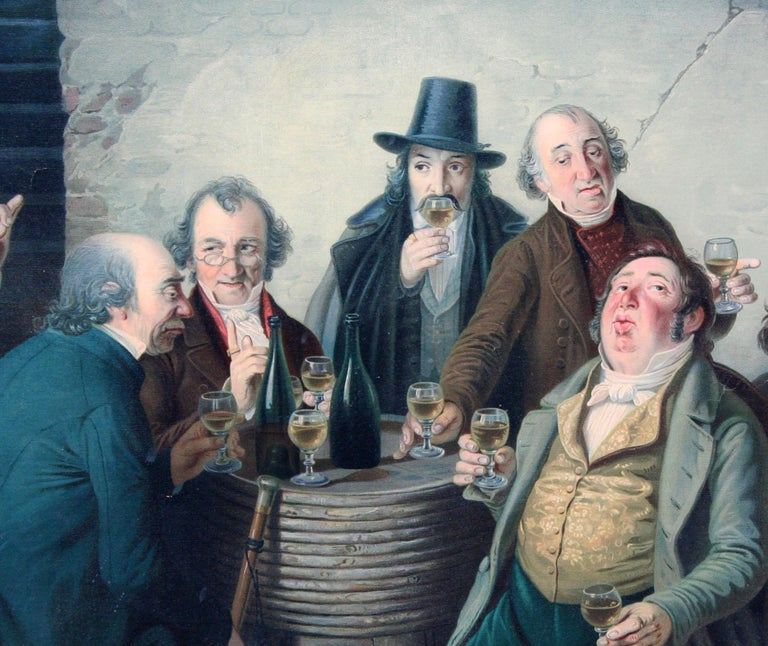 The Wine Tasters - Late 19th Century Lithograph  - Realist Print by Johann Peter Hasenclever