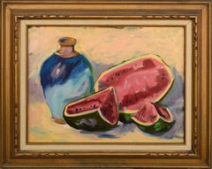 Watermelon and Blue Vase Still-Life