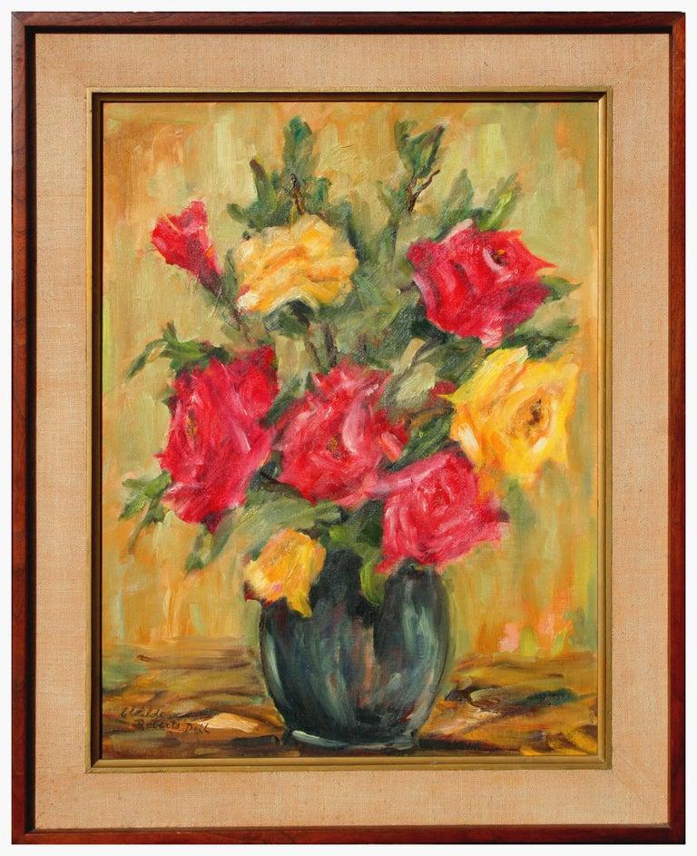 Clotilde Frances Roberts Doll Still-Life Painting - Garden Roses Floral Still Life  Clotilde Frances Doll