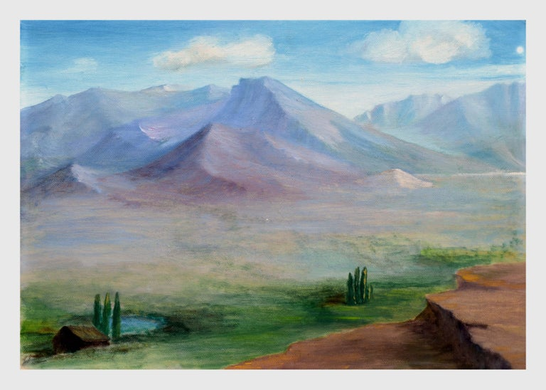 Alice M. Fink Landscape Painting - Homestead Beneath a Desert Mountain Landscape