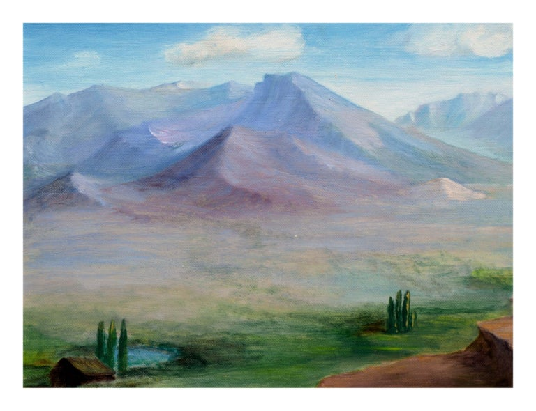 Homestead Beneath a Desert Mountain Landscape  - Painting by Alice M. Fink