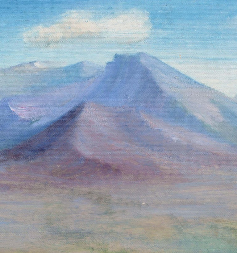 Sweeping landscape of a lone house in an expansive desert scene with colossal mountains in the distance by Alice M. Fink (American, 1880-1968). Signed