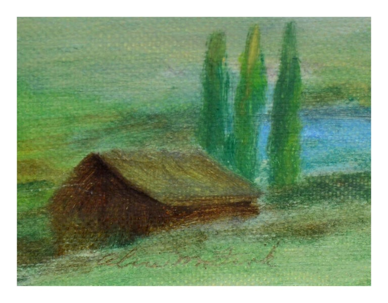 Homestead Beneath a Desert Mountain Landscape  - Gray Landscape Painting by Alice M. Fink